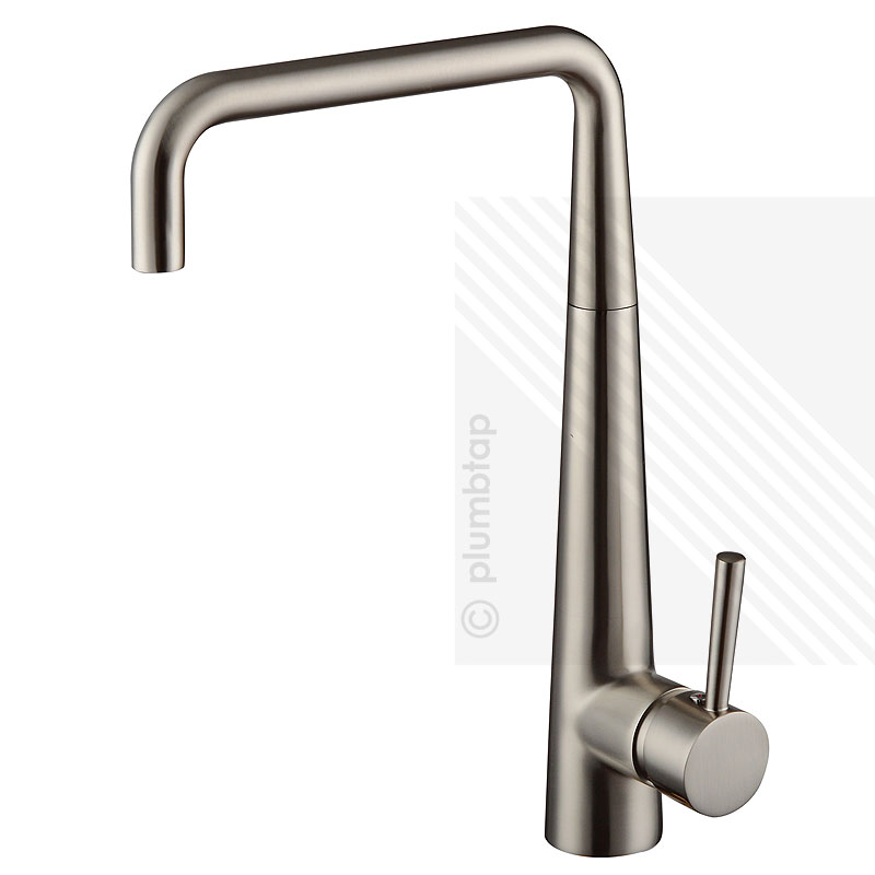 Arian delight single lever kitchen mixer tap brushed nickel for Bathroom accessories taps