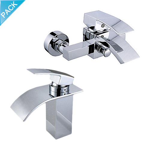 Arian Iris Waterfall Bathroom Basin Mixer Bath Shower Mixer Tap Pack