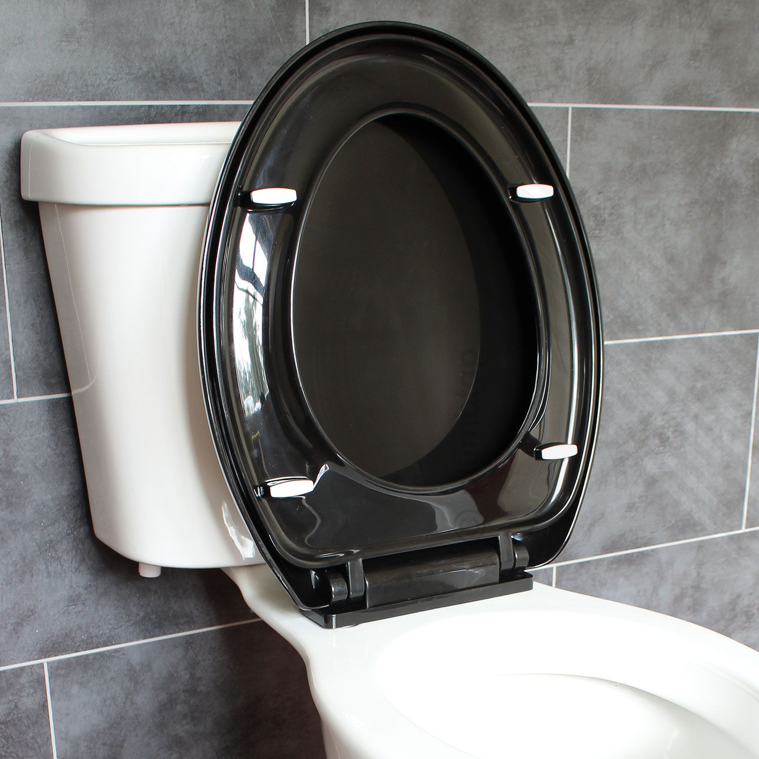 bathroom soft close black oval toilet seat adjustable top. Black Bedroom Furniture Sets. Home Design Ideas