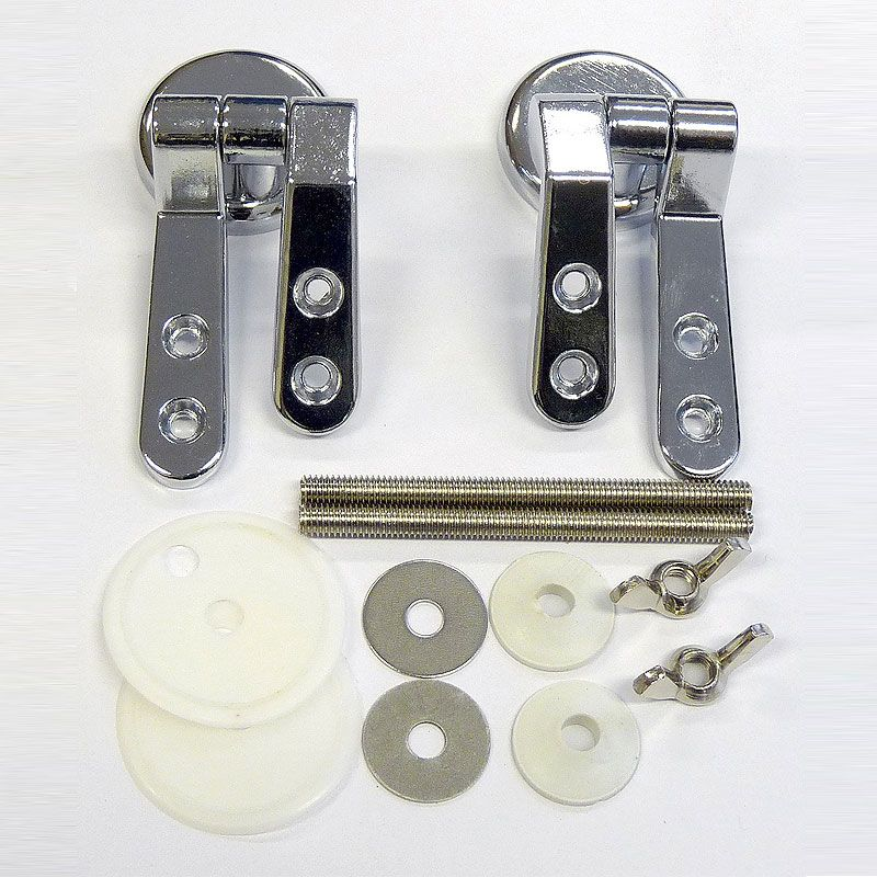 Pair Of Solid Chrome Plated Toilet Seat Hinges
