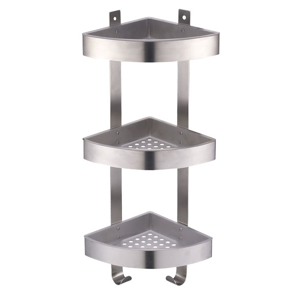 3 Tier Corner Shower Caddy With Brushed Chrome Effect Triple Storage Basket