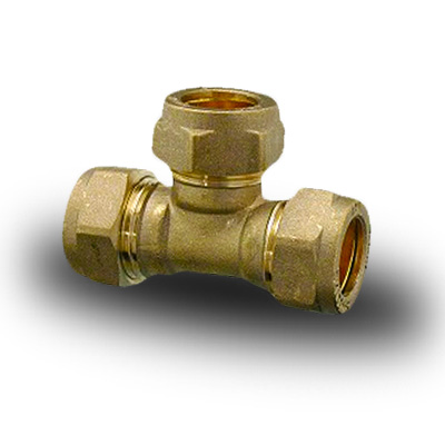 Brass Compression Plumbing Fittings Equal Tee 8mm 28mm