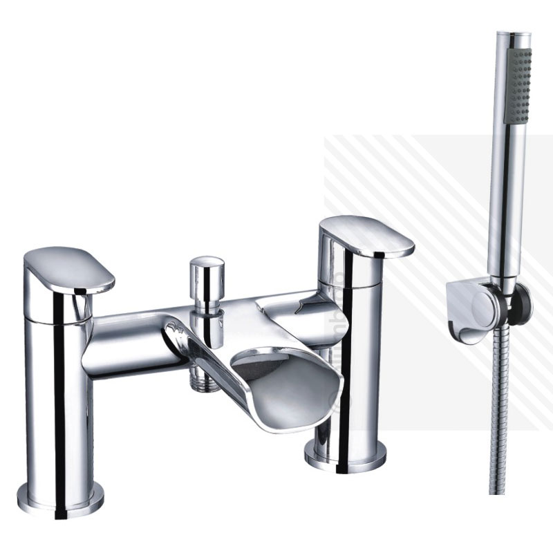 Arian India Curved Waterfall Bath Shower Mixer Tap in Chrome