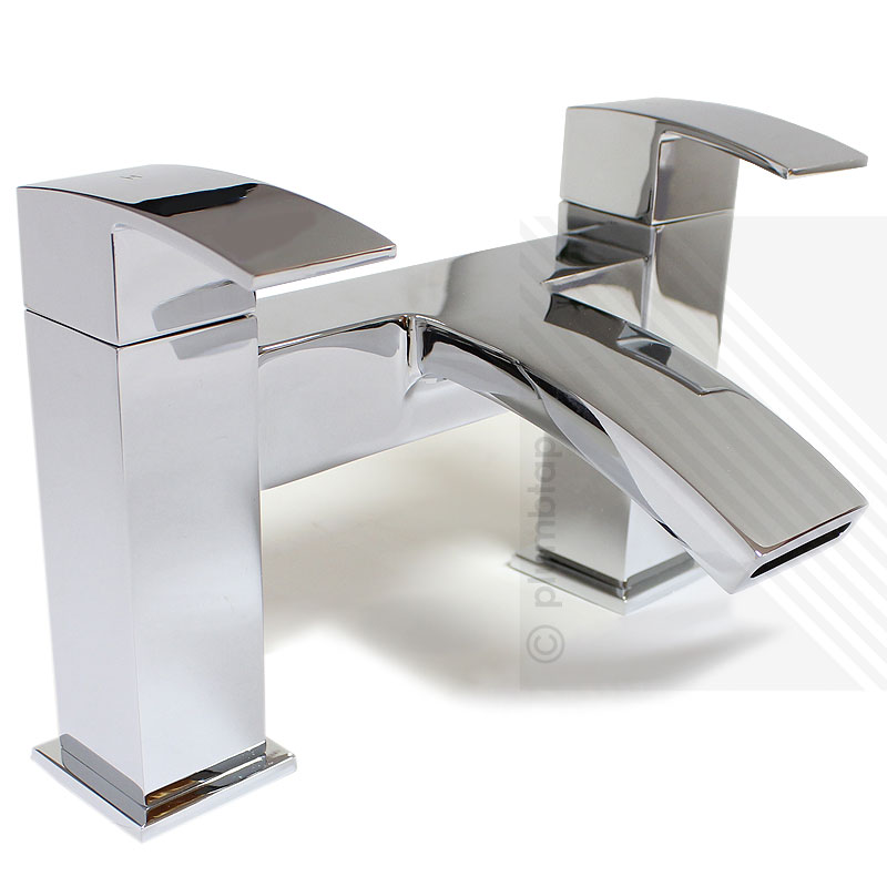 Arian Poppy Modern Curved Bathroom Bath Filler Tap in Chrome with ...