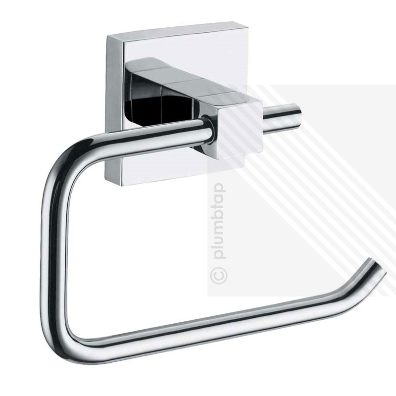 Ecospa 2 piece bathroom accessory set toilet roll holder towel ring set in chrome for Chrome towel rings for bathrooms