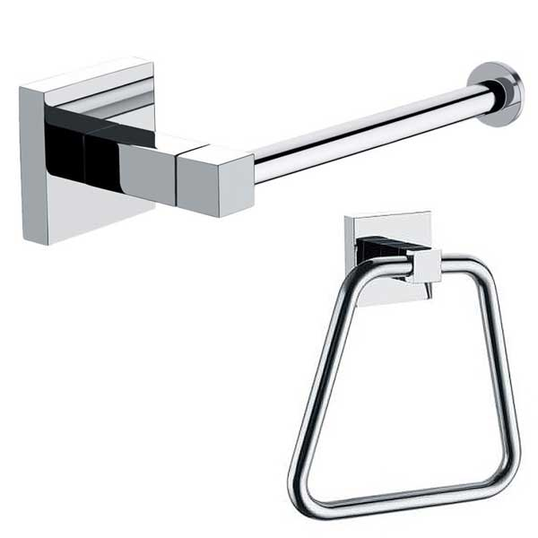 Arian Pro Square Towel Ring Toilet Roll Holder In Chrome