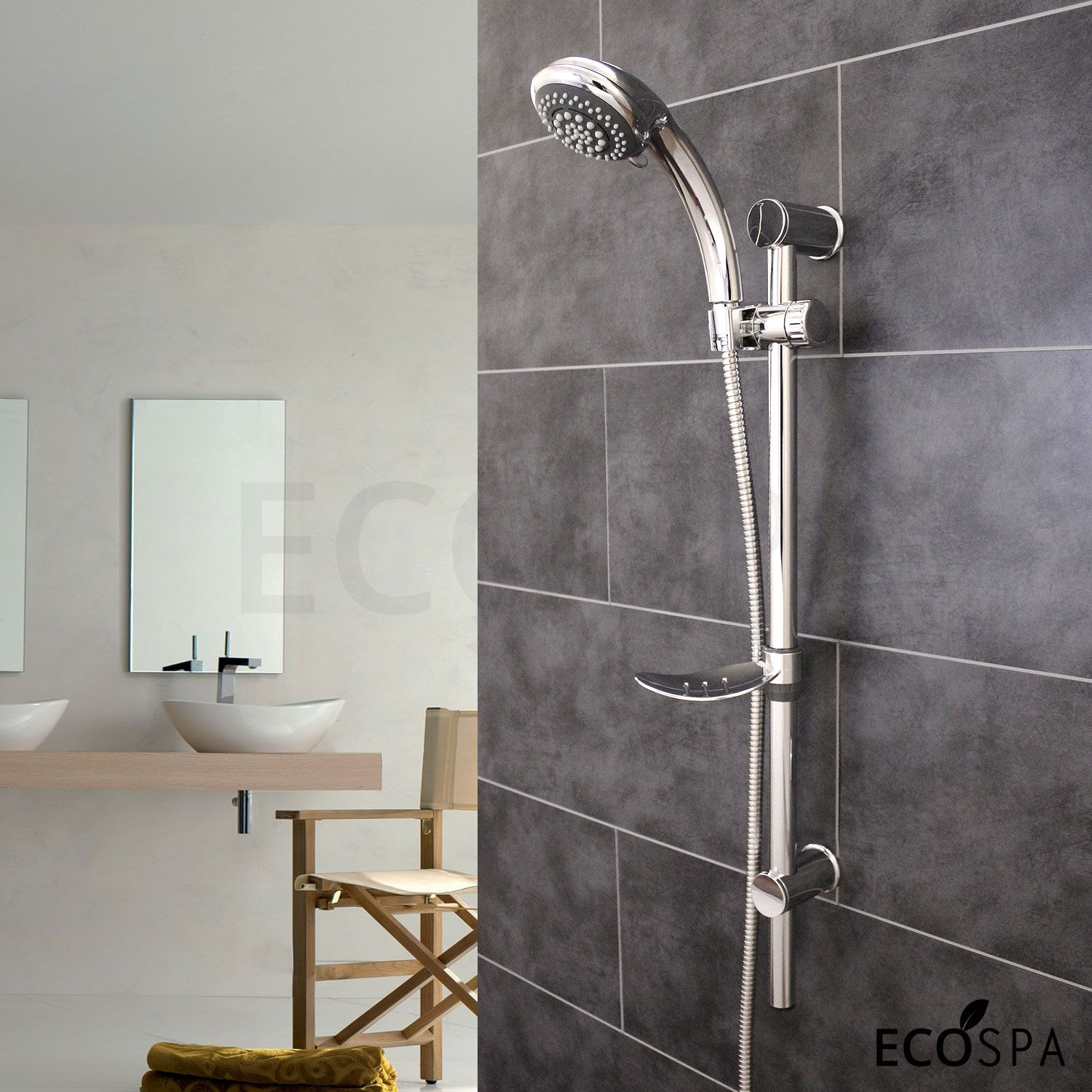 EcoSpa Swift 6 Mode Chrome Shower Kit with Soap Dish and Adjustable ...