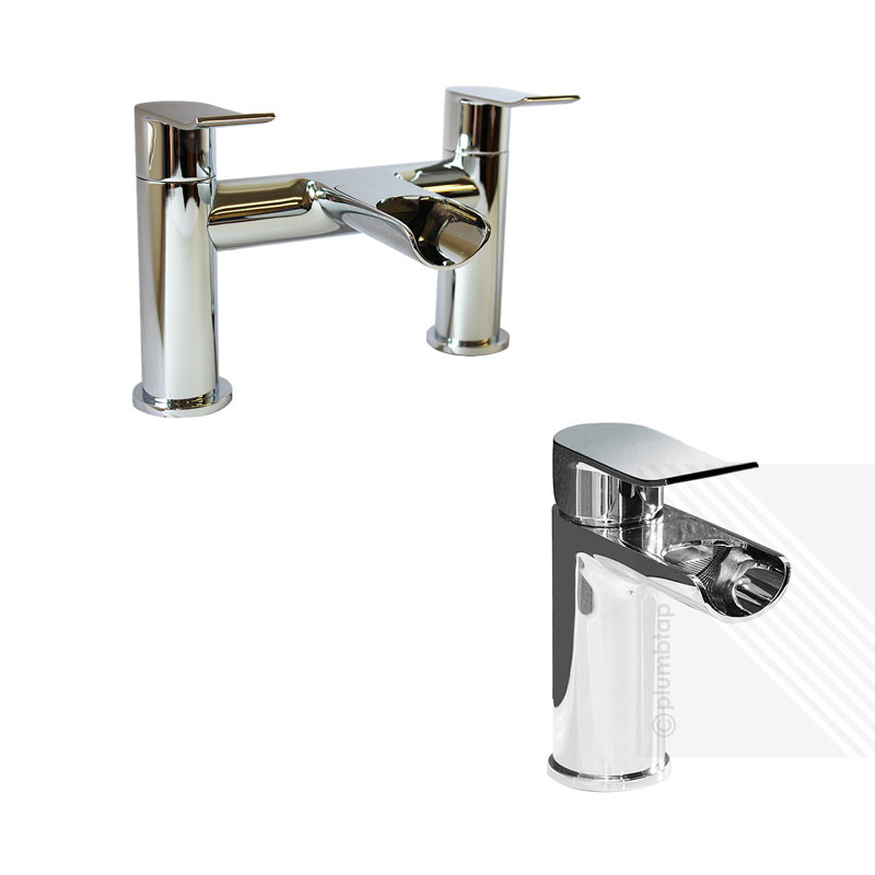 contemporary bathroom taps lou modern basin amp bath filler waterfall mixer tap 12466