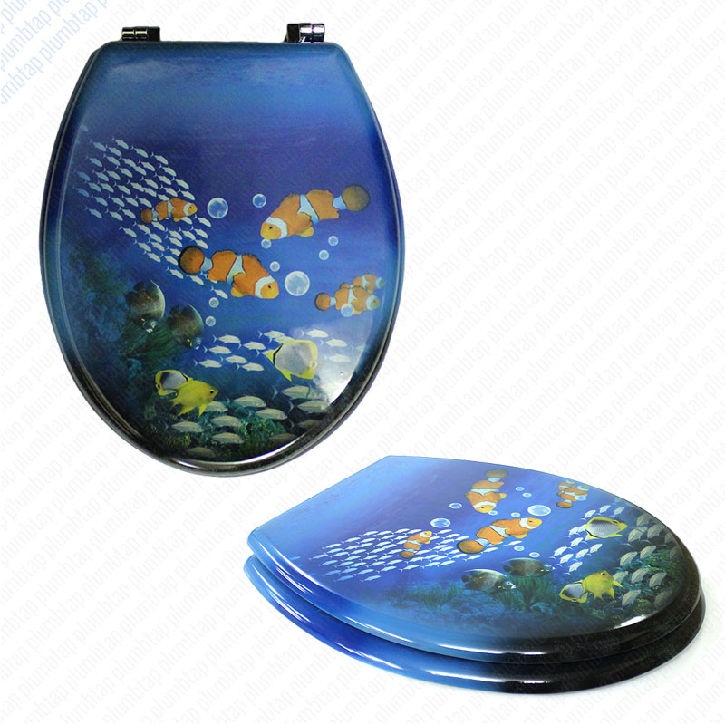 Mdf Clown Fish Print Novelty Toilet Seat With Chrome Metal