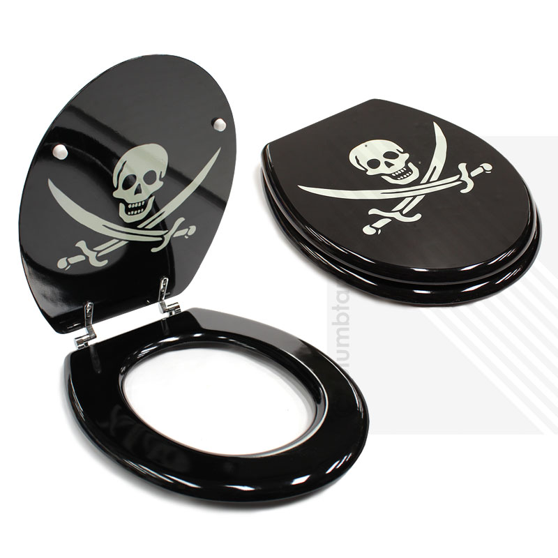 MDF Jolly Roger Pirate Print Novelty Toilet Seat With