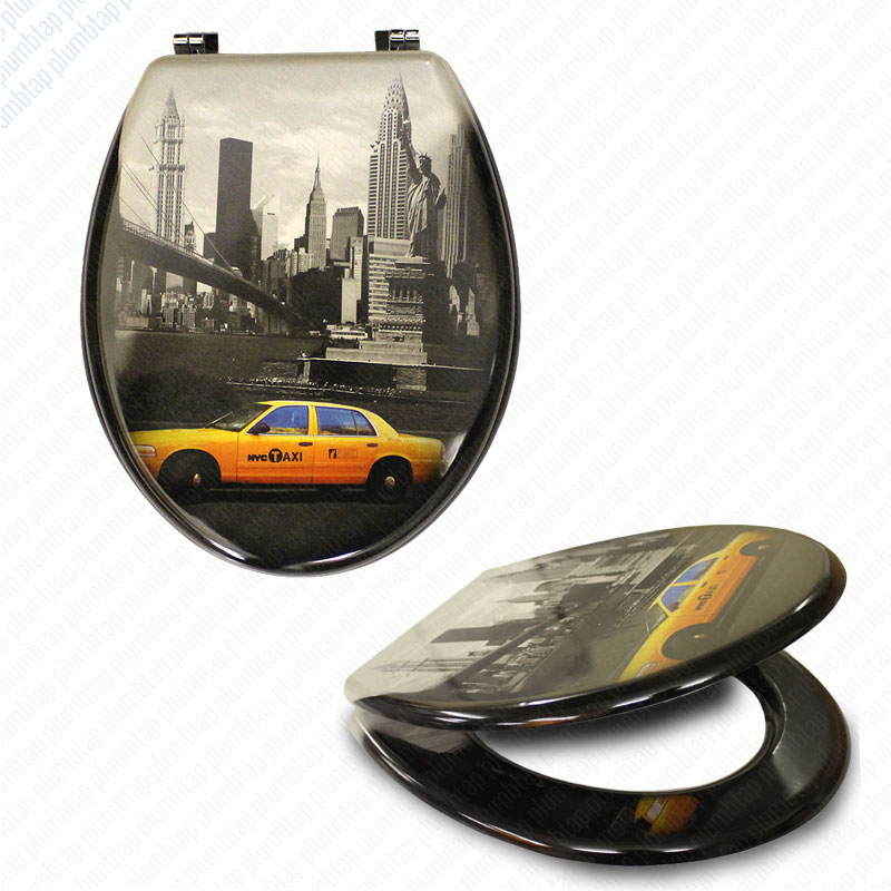 MDF New York Print Novelty Toilet Seat with Chrome Metal Bottom