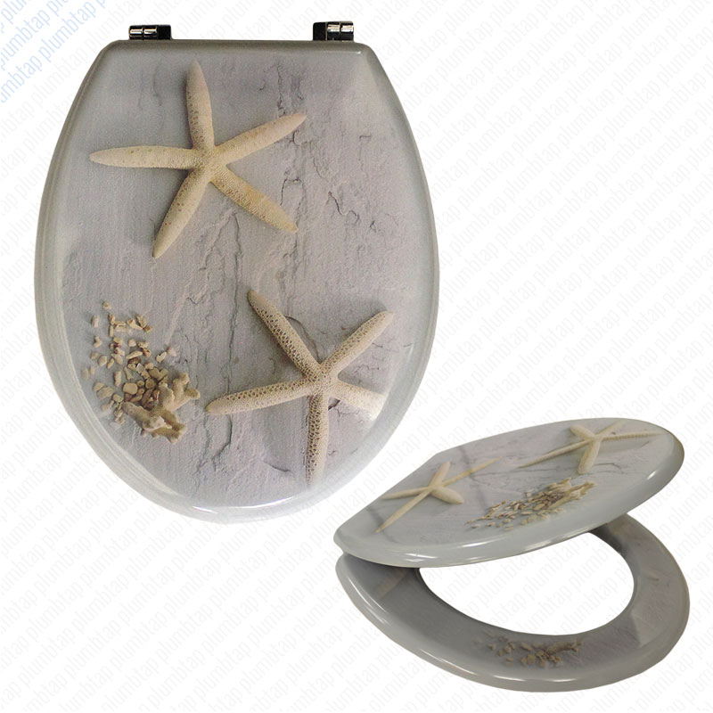 Mdf Starfish Print Novelty Toilet Seat With Chrome Metal