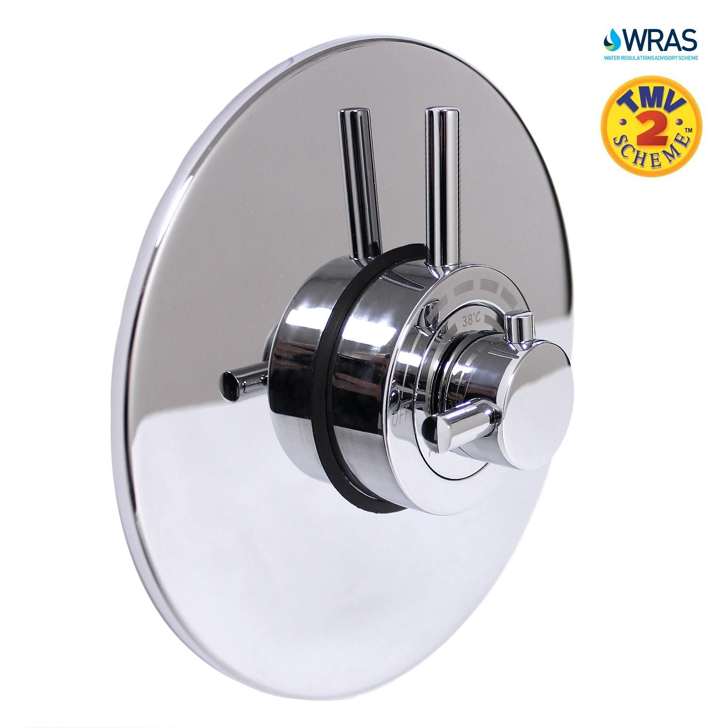 Modern Concealed Concentric Solid Brass Dual Thermostatic Bathroom Shower  Mixer Valve 1 Outlet 2 Handles EcoSpa