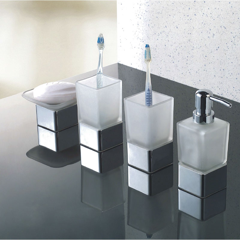 Modern Frosted Glass Chrome Bathroom Accessories Mega Pack Soap Dish 2 x Tumbler & Dispenser