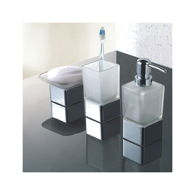 Modern frosted glass chrome bathroom accessories pack soap for Bathroom soap dispensers bath accessories