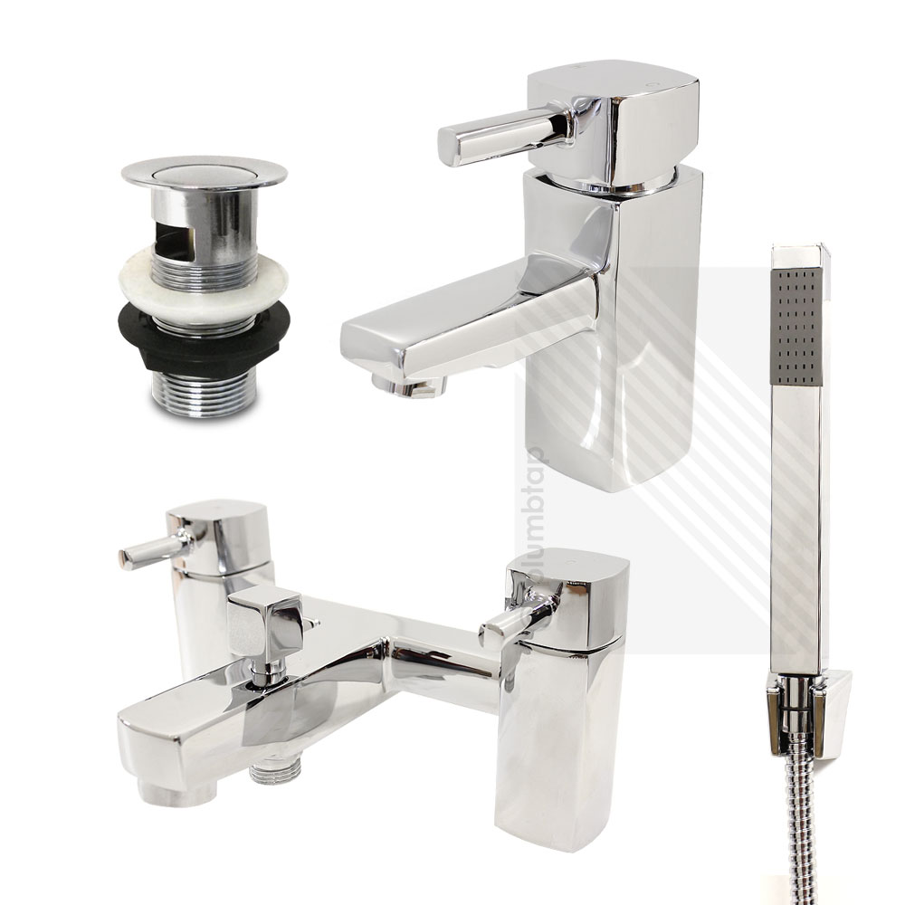 contemporary bathroom fittings modern basin mixer and bath filler shower tap pack 12440