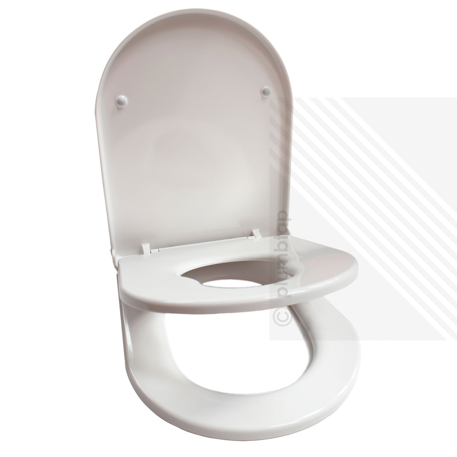 Premium d shape toilet seat for families in glossy white for Toilet seat