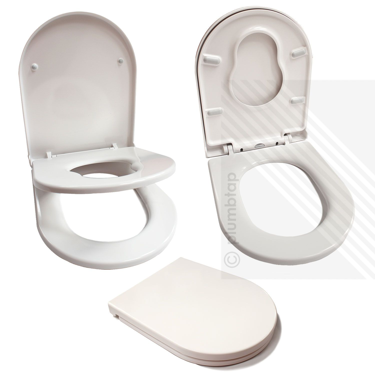 Premium D Shape Toilet Seat For Families In Glossy White
