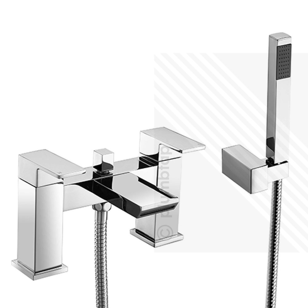 Scudo Escobar Modern Waterfall Bath Shower Mixer Tap Dual Levers ...
