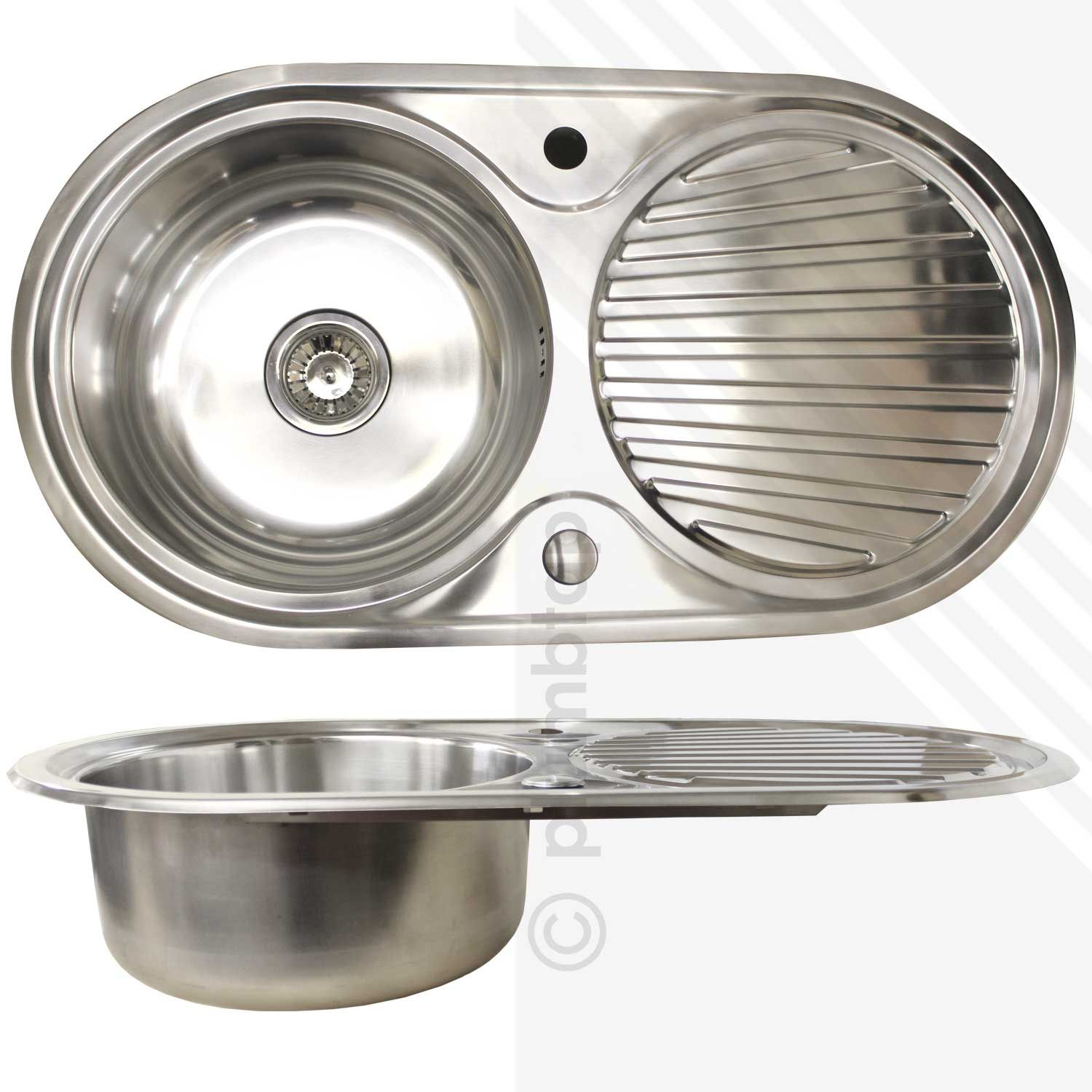 single bowl 10 stainless steel inset kitchen sink round reversible waste clips - Kitchen Sink Round