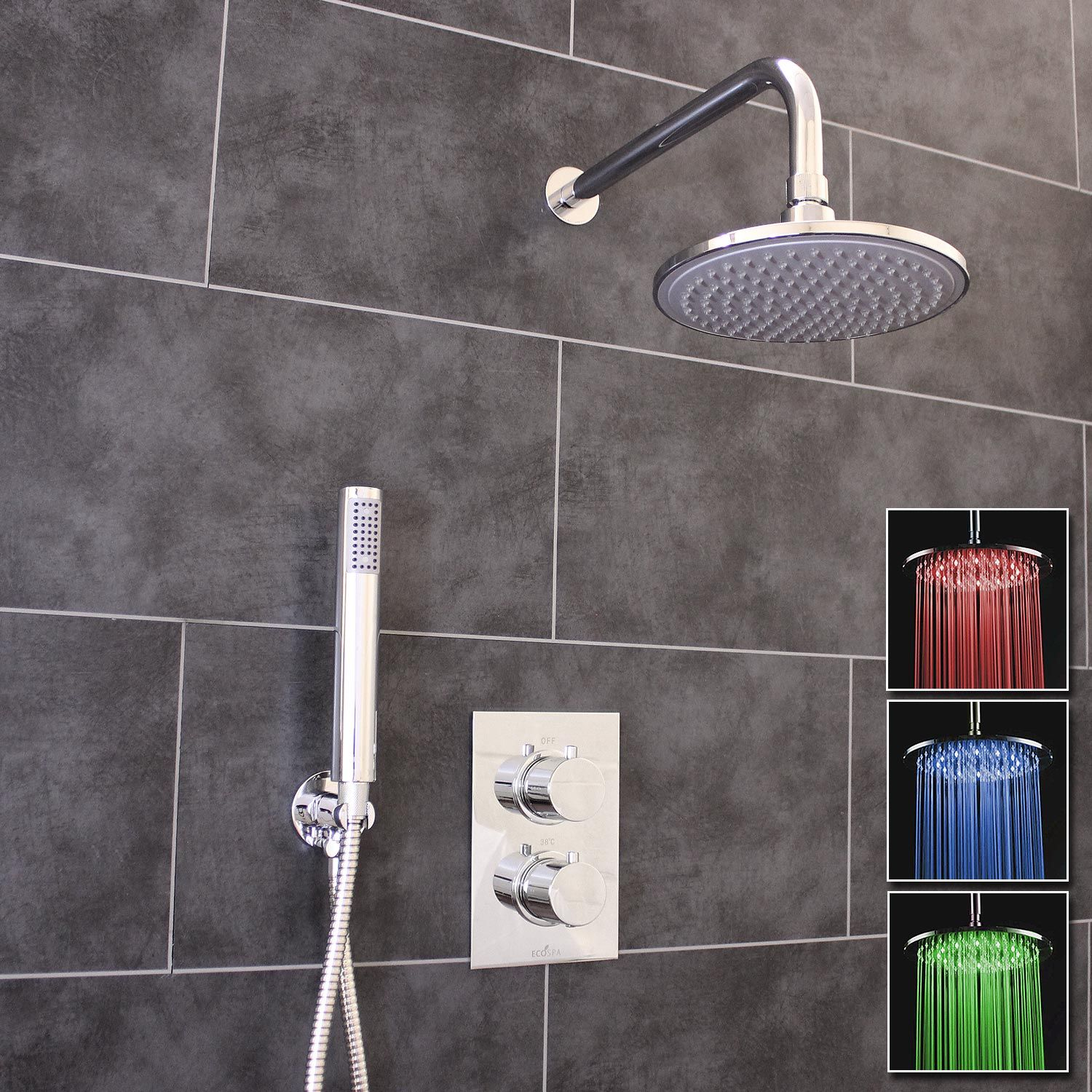 Thermostatic 2 Way Shower Valve 2 Round Handles With Round Led Overhead Shower Drencher Handset Ecospa