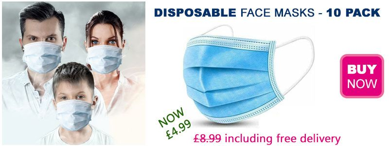 Pack of 10 Disposable Face Masks