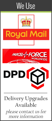 We use Royal Mail, Parcel Force and DPD for our deliveries